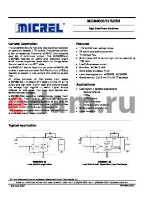 MIC94063 datasheet - High Side Power Switches