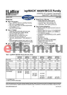 LC4032ZC-5M56I datasheet - 3.3V/2.5V/1.8V In-System Programmable SuperFAST High density PDLs