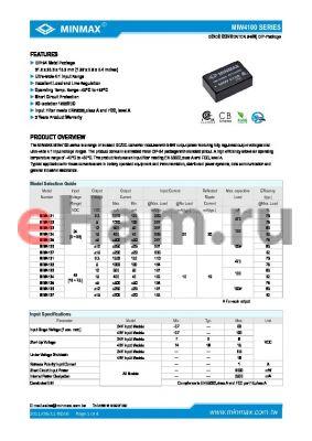 MIW4133 datasheet - DC/DC CONVERTER 5-6W, DIP-24 Metal Package