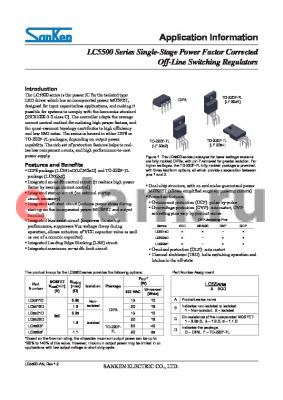 LC5523D datasheet - LC5500 Series Single-Stage Power Factor Corrected Off-Line Switching Regulators