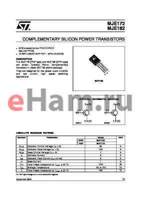 MJE172_03 datasheet - COMPLEMENTARY SILICON POWER TRANSISTORS