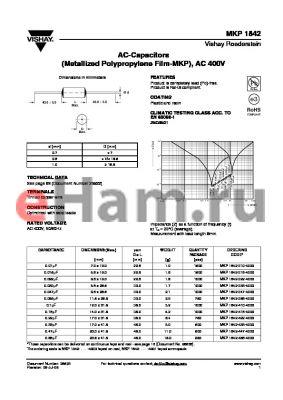MKP1842-333-4000 datasheet - AC-Capacitors (Metallized Polypropylene Film-MKP), AC 400V