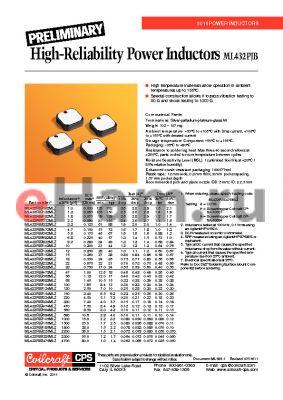 ML432PJB153MLZ datasheet - High-Reliability Power Inductors