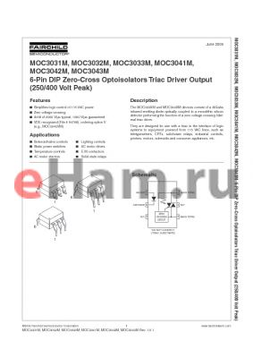 MOC3032SR2VM datasheet - 6-PIN DIP ZERO-CROSS OPTOISOLATORS TRIAC DRIVER OUTPUT (250/400 VOLT PEAK)