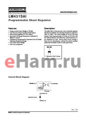 LM431SAIMFX datasheet - Programmable Shunt Regulator