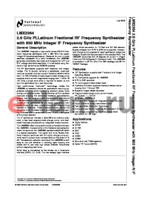 LMX2364TM datasheet - 2.6 GHz PLLatinum Fractional RF Frequency Synthesizer with 850 MHz Integer IF Frequency Synthesizer
