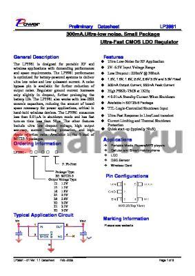 LP3981-28B5F datasheet - 300mA,Ultra-low noise, Small Package Ultra-Fast CMOS LDO Regulator