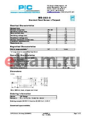 MS-332-3-2 datasheet - Standard Reed Sensor - Flatpack