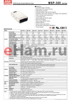 MSP-300-12 datasheet - 300W Single Output Medical Type