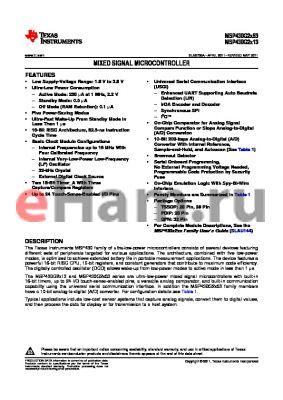 MSP430G2553IN20 datasheet - MIXED SIGNAL MICROCONTROLLER