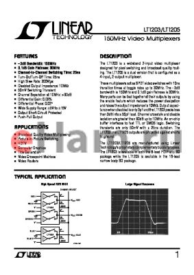 LT1203 datasheet - 150MHz Video Multiplexers