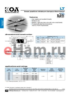 LT14CT52R102J1000 datasheet - linear positive miniature tempco thermistor