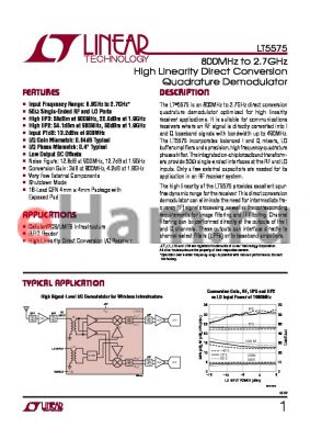 LT5572 datasheet - 800MHz to 2.7GHz High Linearity Direct Conversion Quadrature Demodulator