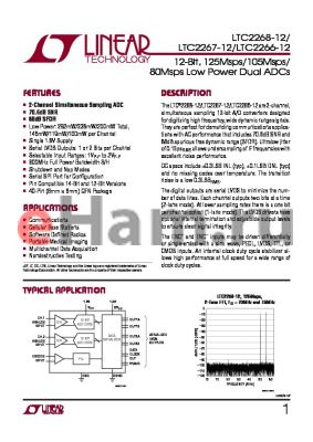 LTC2268CUJ-12PBF datasheet - 12-Bit, 125Msps/105Msps/ 80Msps Low Power Dual ADCs