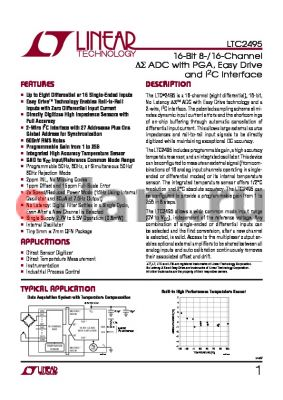 LTC2495CUHF datasheet - 16-Bit 8-/16-Channel DS ADC with PGA, Easy Drive and I2C Interface