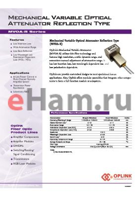MVOA1310R002254 datasheet - Mechanical Variable Optical Attenuator Reflection Type