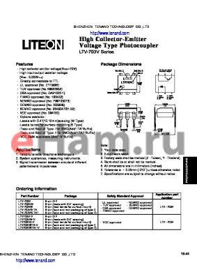 LTV-703VS datasheet - High Collector-Emitter Voltage Type Photocoupler