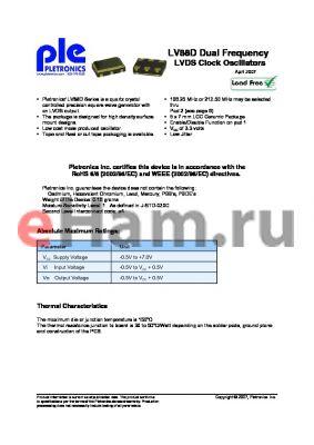 LV8820DV-106M-1K datasheet - LVDS Clock Oscillators