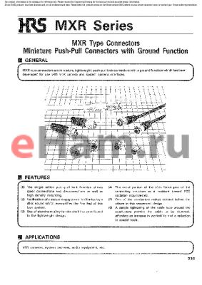 MXR-8PA-3PA datasheet - MXR Type Connectors Miniature Push-Pull Connectors with Ground Function