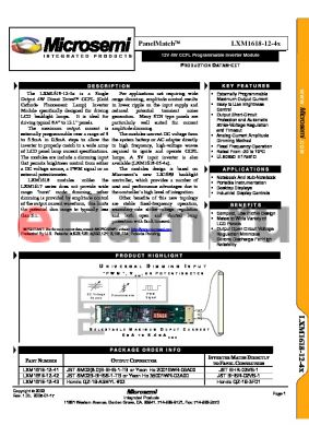 LXM1618-12-4X datasheet - 12V 4W CCFL Programmable Inverter Module