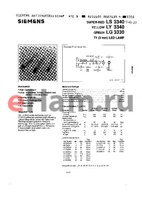 LY3340-KN datasheet - T1(3mm) LED LAMP