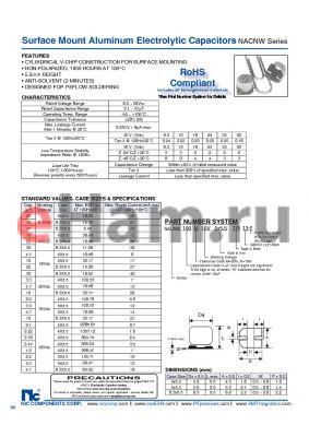 NACNW10K10V4X5.5TR13F datasheet - Surface Mount Aluminum Electrolytic Capacitors
