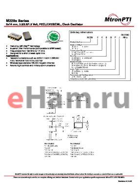 M220224GLJ datasheet - 9x14 mm, 3.3/2.5/1.8 Volt, PECL/LVDS/CML, Clock Oscillator