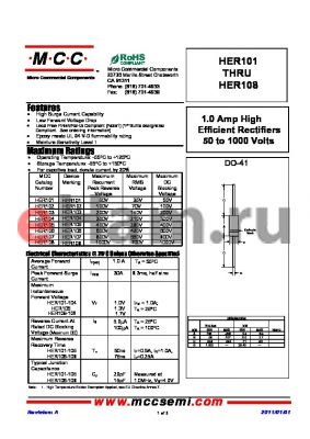 HER106 datasheet - 1.0 Amp High Efficient Rectifiers 50 to 1000 Volts