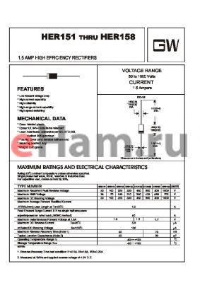 HER154 datasheet - 1.5 AMP HIGH EFFICIENCY RECTIFIERS