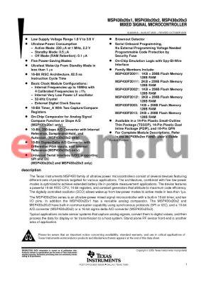 MSP430F2002 datasheet - MIXED SIGNAL MICROCONTROLLER