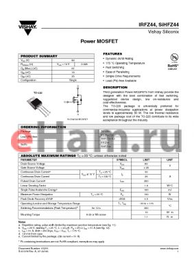 IRFZ44 datasheet - Power MOSFET