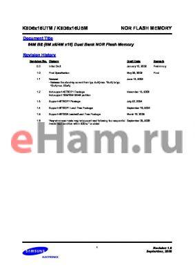K8D6316UTM-TC07 datasheet - 64M Bit (8M x8/4M x16) Dual Bank NOR Flash Memory