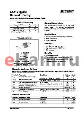 LXA12T600C datasheet - 600 V, 12 A X-Series Common-Cathode Diode
