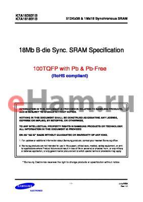 K7A161831B-PI20 datasheet - 18MB B-DIE SYNC SRAM SPECIFICATION 100TQFP WITH PB, PB-FREE