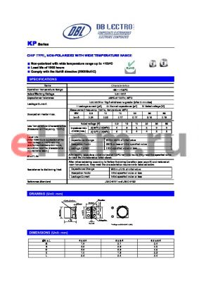 KP1J101MR datasheet - CHIP TYPE, NON-POLARIZED WITH WIDE TEMPERATURE RANGE