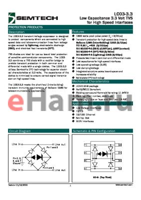 LC03-3.3.TBT datasheet - Low Capacitance 3.3 Volt TVS for High Speed Interfaces