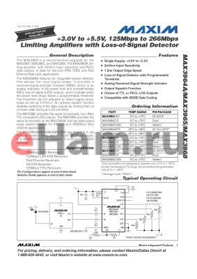MAX3965C datasheet - 3.0V to 5.5V, 125Mbps to 266Mbps Limiting Amplifiers with Loss-of-Signal Detector
