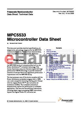 MPC5533MZQ40 datasheet - Microcontroller Data Sheet