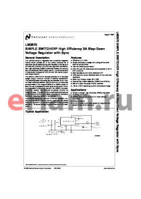 LM2670SX-ADJ datasheet - SIMPLE SWITCHER High Efficiency 3A Step-Down Voltage Regulator with Sync