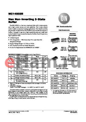 MC14503BFR1 datasheet - Hex Non-Inverting 3-State Outputs Buffer