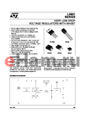 L4931CV52 datasheet - VERY LOW DROP VOLTAGE REGULATOR WITH INHIBIT