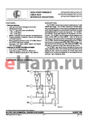 IDT74823CTE datasheet - High-prerformance smos bus interface register