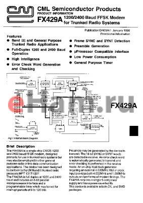 FX429AL2 datasheet - 1200/2400 Baud FFSK modem for trunked radio system