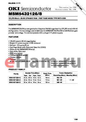 MSM5432126-45GS-K datasheet - 131,072-word x 32-bit dynamic RAM