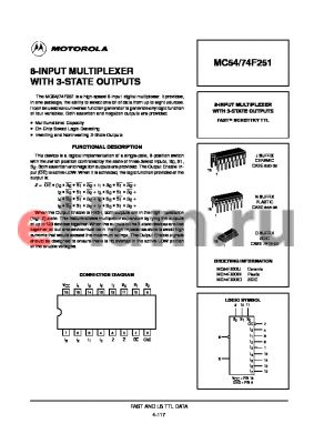 MC74F251D datasheet - 8-input multiplexer with 3-state outputs