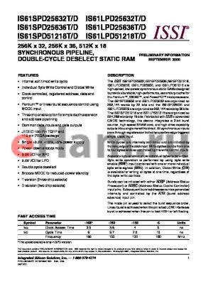 IS61LPD25636T-133TQ datasheet - 256K x 36 synchronous pipeline, double-cycle deselect  static RAM