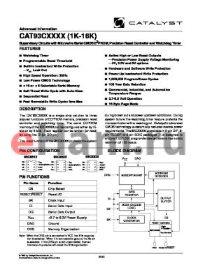 CAT93C6634UI-25TE13 datasheet - 4K 2.55-2.7V Supervisory circuit with microwire serial CMOS EEPROM, precision reset controller and watchdog timer