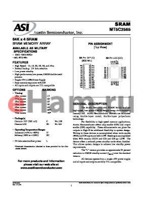 MT5C2565C-45L/XT datasheet - 64K x 4 SRAM memory array