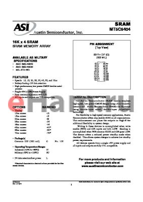 MT5C6404C-55L/IT datasheet - 16K x 4 SRAM memory array