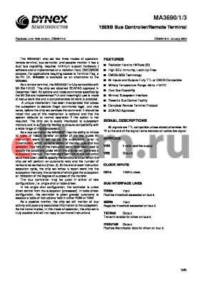 MAS3690NS datasheet - 1553B bus controller/remote terminal